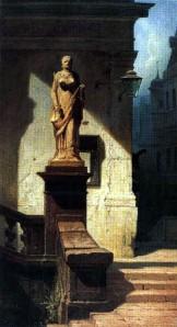 """Carl Spitzweg;   """"Justitia""""  ehemalige Sammlung Leo Bendel, ein Beispiel der Raubkunst: 1937 für die Finanzierung der Emigration verkauft, bis 2006 in der Villa Hammerschmidt, Bonn; vom Bundespräsidialamt 2007 restituiert. Quelle Wikipedia"""